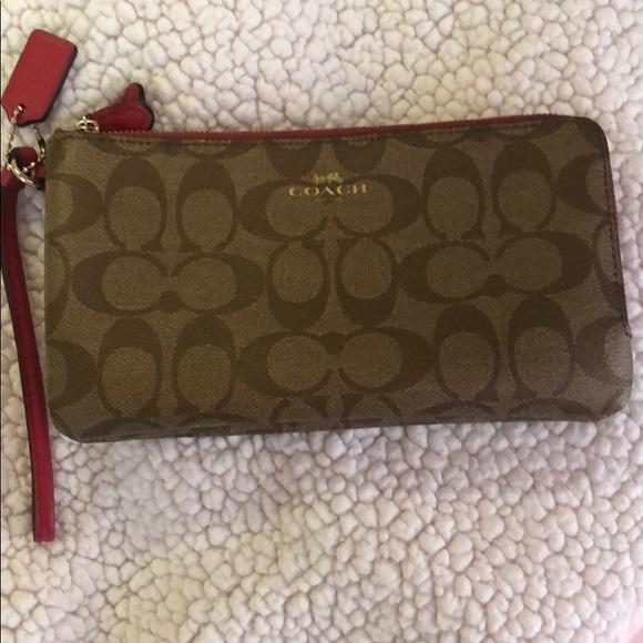 Coach Handbags - Large Coach double zip wallet/wristlet